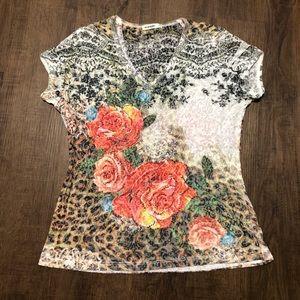 Rose Leopard Short Sleeve Lightweight Shirt Top L